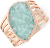 Vince Camuto Rose Gold-Tone Large Green Stone Cuff Bracelet