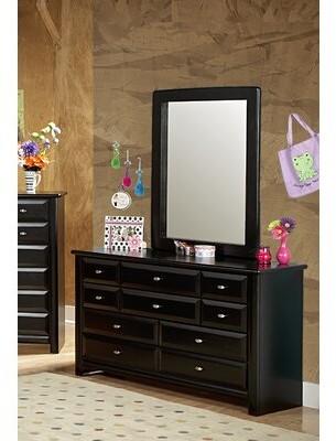Harriet Bee Coreen 9 Drawer Double Dresser with Mirror Color: Black Cherry
