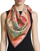 Salvatore Ferragamo Patterned Silk Square Scarf, Pink/Multicolor