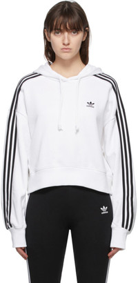 adidas White Adicolor Cropped Hoodie