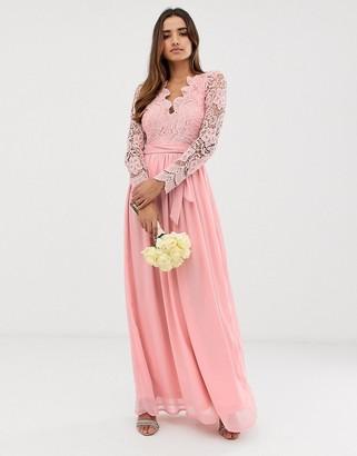 Club L bridesmaid long sleeve crochet detail maxi dress