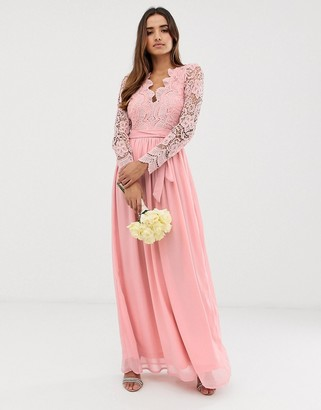 Club L London bridesmaid long sleeve crochet detail maxi dress-Pink
