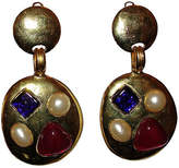 One Kings Lane Vintage Chanel Gripoix Chandelier Earrings - Treasure Trove NYC - gold/blue/red/white