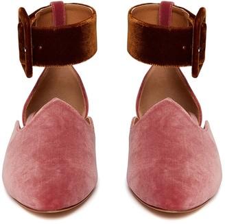 Le Monde Beryl Blush Pink Velvet Ankle Strap Slipper