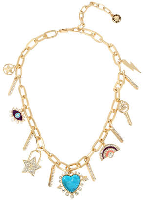 BCBGeneration Stone Heart Multi Charm Frontal Necklace