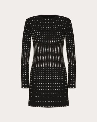 Valentino Short Embellished Technical Double Wool Dress Women Black Polyester 45%, Virgin Wool 36%, Elastane 3% 40