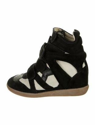Etoile Isabel Marant Suede Colorblock Pattern Wedge Sneakers Blue