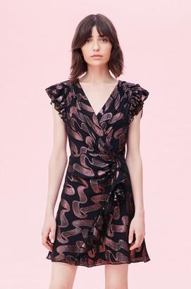 Rebecca Taylor Ribbon Lurex Jacquard Ruffle Dress