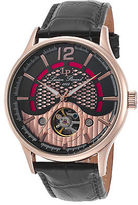 Lucien Piccard 15038-RG-01 Men's Transway Auto Black Genuine Leather Two-Tone
