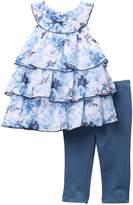 Calvin Klein Floral Tulle Dress & Legging Set (Toddler Girls)