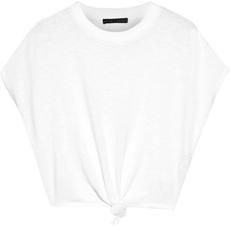 Alice + Olivia Cammy Cropped Knotted Slub Cotton-blend Top