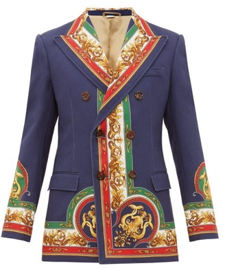 Gucci Mermaid-print Double-breasted Cotton-twill Jacket - Multi