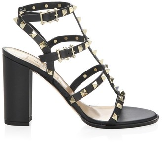 Valentino Core Rockstud Leather Ankle Strap Sandals