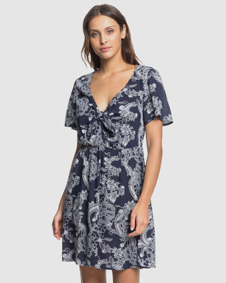 Roxy Womens Summer On Top Printed Buttoned Mini Dress