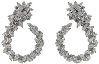 YEPREM 18kt White Gold Diamond Hoop Earrings