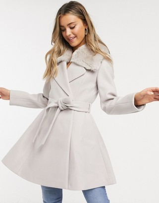 Ever New faux fur collar coat in gray