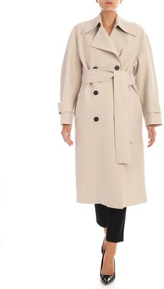 Harris Wharf London Double-breasted Coat With Fleece Lining