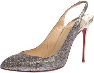 Christian Louboutin Silver Glitter Corneille Slingback Sandals Size 39.5