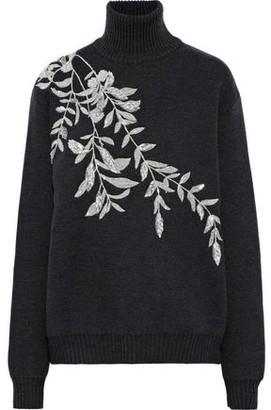 Oscar de la Renta Embellished Wool Turtleneck Sweater