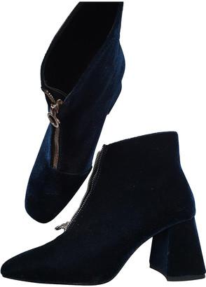 Zara Turquoise Velvet Ankle boots