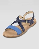 Cole Haan Minetta Flat Sandal, Blue Topaz/Blazer