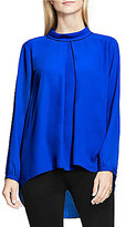 Vince Camuto Long Sleeve Mock Neck Inverted Front Pleat Blouse