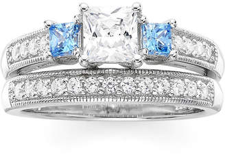 FINE JEWELRY DiamonArt White and Blue Cubic Zirconia Sterling Silver 3-Stone Princess-Cut Bridal Ring Set