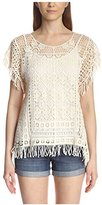 Cliche Clich Women's Sheer Crochet Top with Fringe