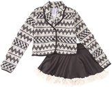 Gray Geometric Jacket & Skirt - Girls