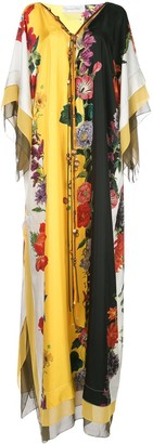Oscar de la Renta Floral Print Long Dress