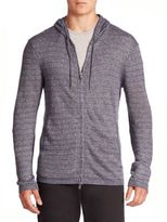 John Varvatos Striped Long Sleeve Zip-Front Hoodie Sweater