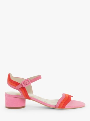 Boden Kitty Block Heeled Suede Wave Print Sandals, Bright Camelia