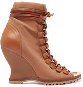 Chloé River Canvas And Leather Wedge Ankle Boots - Tan