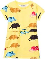 Mini Rodini Yellow Mr Mouse Sweat Dress