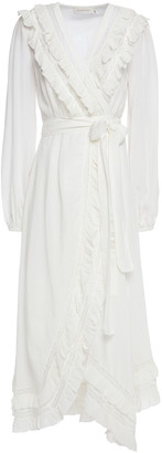 Zimmermann Lace-trimmed Ruffled Silk-crepon Midi Wrap Dress