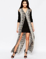 Liquorish Shift Dress With Printed Maxi Overlay In Snake Print