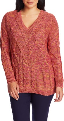 Chaus Marled Cable Cotton Sweater