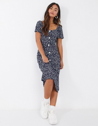 Qed London button front midi tea dress in navy floral