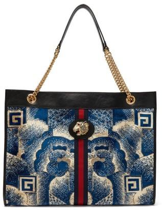 Gucci Rajah Cloud-print Velvet And Leather Tote Bag - Womens - Blue Multi