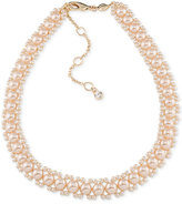 Carolee Gold-Tone Imitation Pink Pearl Woven Collar Necklace