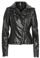 Free People Women's Hooded Faux Leather Moto Jacket