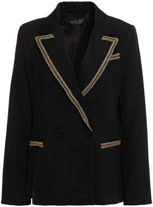 Rachel Zoe Double-breasted Lame-trimmed Bead-embellished Crepe Blazer