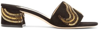 Jimmy Choo Minea 45 Studded Suede Mules - Womens - Black Gold