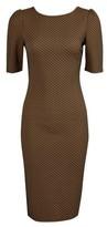 Dorothy Perkins Womens Brown Geometric Print Jacquard Bodycon Dress, Brown