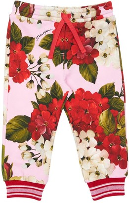 Dolce & Gabbana Geranium Print Cotton Sweatpants