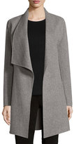 Elie Tahari Christina Wool-Blend Open Coat, Gray Melange