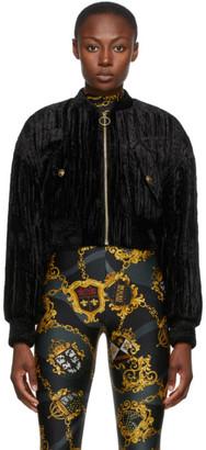 Versace Jeans Couture Black Crushed Velvet Bomber Jacket