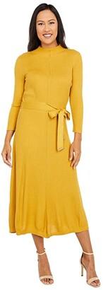 Calvin Klein Midi Sweaterdress with Self Tie Belt (Ochre) Women's Dress