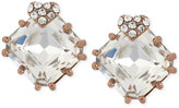 Betsey Johnson Rose Gold-Tone Heart and Square Crystal Stud Earrings