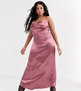 Public Desire Curve maxi slip dress with cowl neck in luxe satin-Pink
